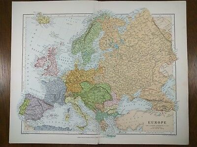 Vintage 1896 EUROPE Map Old Antique RUSSIA ITALY FRANCE SPAIN GERMANY UK MAPZ