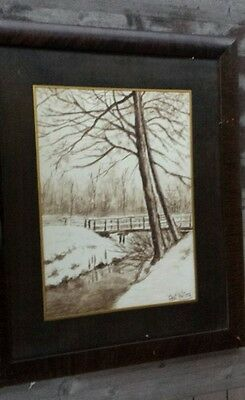 19th-Century Framed Watercolor, Winter Pastoral Scene, Signed Charles Walters #2