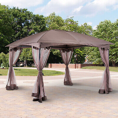 Patio Gazebo Party Tent Coated Canopy Garden Shelter Mesh Wall 3.5M x 3.5M
