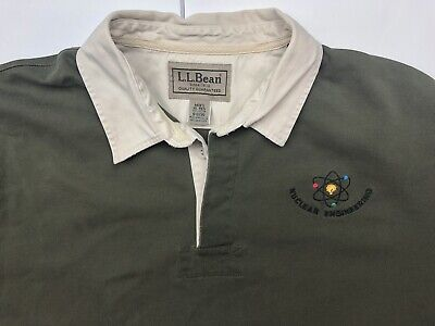 4bd362d0a LL Bean Rugby Polo Shirt men's XL Nuclear Engineering Embroidery Olive Green