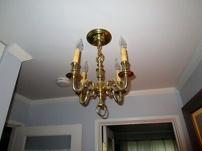 1 of 2 Antique Cast Polished Brass Chandelier 4 Light Scrolled Arms c1920