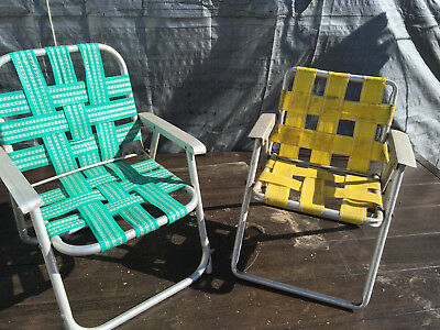 Child's Vintage  Folding Webbed Aluminum Lawn Chairs with new matching webbing
