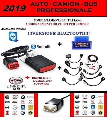 Autodiagnosi Professionale 2019 Bluetooth + Kit 8 Cavi + Elm 327 + Wow 5.00.12