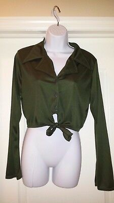 Girl Rebel Front Tied Green Button Down Long Sleeve Shirt