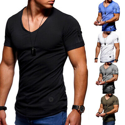Men's Slim Fit V-Neck Solid Short Sleeve Muscle Tee Casual T-shirt Tops Blouse