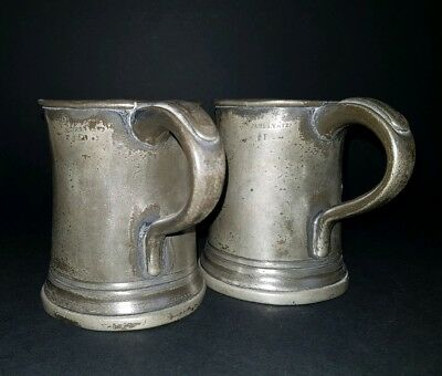 Pair Victorian James Yates Pewter 1/2 Pint Tankards Steins   :C7