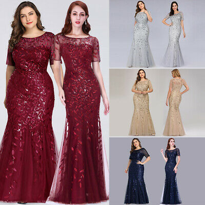Ever-Pretty Lady Plus Size Formal Mesh Glitter Long Evening Gowns Dress 07707