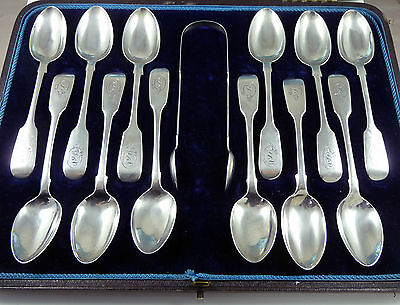 Antique Set Of 12 Solid Sterling Silver Teaspoons + Tongs  Georgian & Victorian