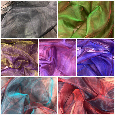 Sheer 2 Tone Organza Fabric Material (X1027) 7 Colours Prom Bridal Occasion Wear