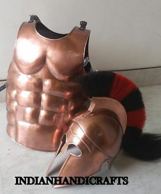 Corinthian Helmet With Red & Black Plume Muscle Armor Knight Halloween Costume