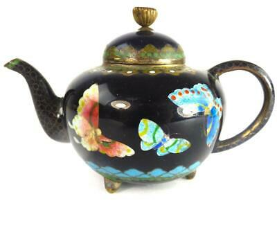 N908 Antique Japanese Meiji Cloisonne Miniature Teapot Ginbari Butterfly Blue