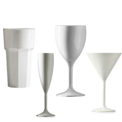 White Champagne Flutes or White Wine Glasses, Reuse over 1000 times, Unbreakable