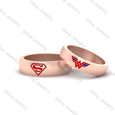 2Pc Matching Band Set Superhero Wedding Jewelry Matching Couple Engagement Bands