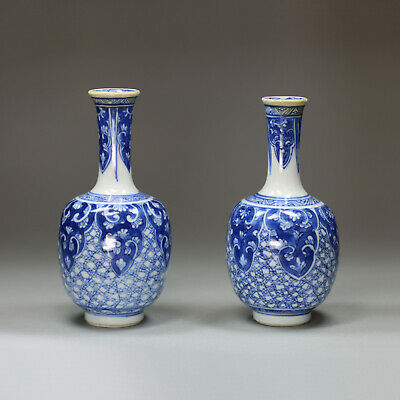 Antique Pair of miniature Chinese blue and white bottle vases, Kangxi (1662-1722
