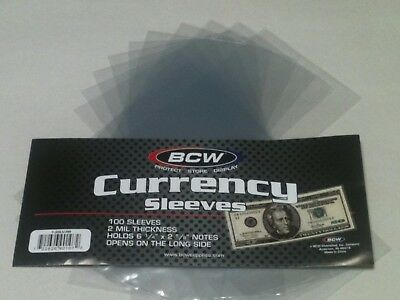 40 BCW Regular Dollar Bill Currency Sleeves-Money Holders-Protectors-Ships Free*