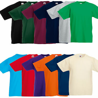 Fruit Of The Loom Plain Cotton Boys Girls Kids T-Shirts Casual Shirts