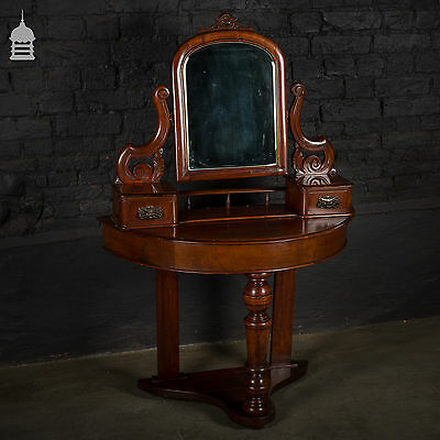 19th C Mahogany Mirrored Side Table with Drawers