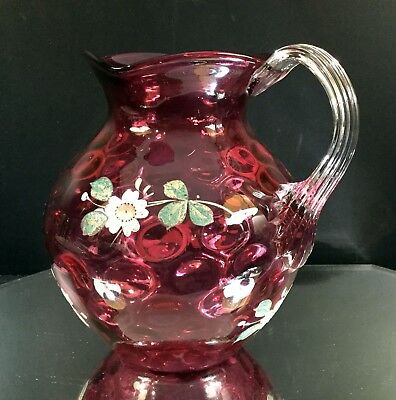 Fenton Cranberry Inverted Thumbprint Floral Decorated Ball Pitcher-7-Day Auction