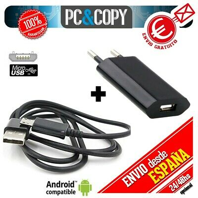 R559 Cargador USB de pared con cable para ANDROID movil tablet smartphone negro