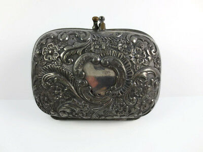 Antique Repousse Silverplate Covered Soap Box Shaving Accessory Ornate Victorian
