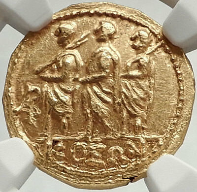 Brutus Julius Caesar Roman Assassin 44BC Ancient Greek GOLD Coin NGC MS i68143