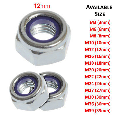 M12 - 12mm NYLON NYLOC LOCK NUTS TYPE T BRIGHT ZINC PLATED DIN 985 FS1537