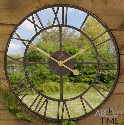 Garden Mirror Clock Roman Numeral Metal Antique Design Outdoors About Time™ 40cm