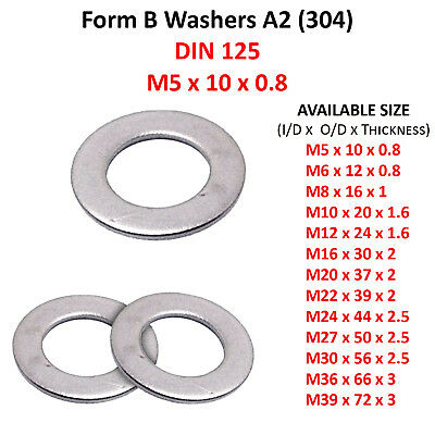 M5 (5mmØ) FLAT FORM B WASHERS THIN WASHER STAINLESS STEEL A2 304 F1737