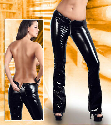 "Lack Hose L 44 46 Black Level Zip schwarz Wetlook Glanz Jeans Damen pvc ""Arlai"""