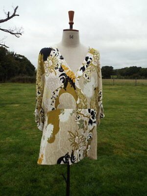 Super Soft RIVER ISLAND Etienne Green Print Cross Over Top Size 16 BNWT RRP £35