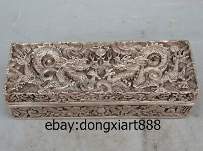 "8"" China Ancient Tibet Silver Handwork Two Dragon Play Bead Jewelry casket box"