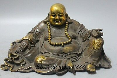 Old Chinese Bronze Gilt Seat Lotus Happy Laugh Maitreya Buddha Hold Bead Statue