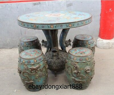 "35"" Chinese Purple Bronze Cloisonne Foo Dog Lion Dragon Round Table Desk stool"