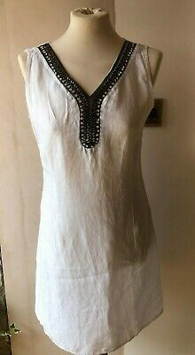 814455e2a2 White Linen Embellished Dress Lagenlook Bnwt Lina Tomei Made In Italy Uk L