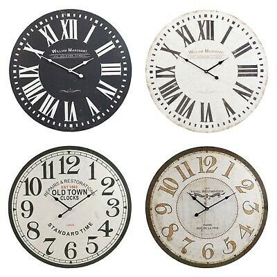 MDF Wooden Large Round Wall Clock Vintage Style Retro Antique Distressed Designs