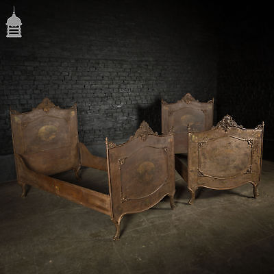 Pair of 19th C French Iron Single Beds with Dolphin Feet