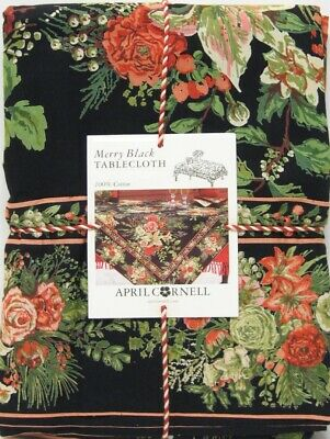 April Cornell Border Print Tablecloth Merry Holiday Floral Black 60 x 120 NEW