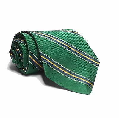 "ROOSTER Dress Silk Tie Green Blue Stripes 3.5"" wide 58"" Long"
