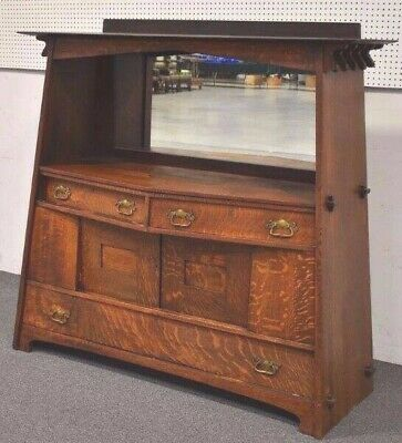 Antique Arts and Crafts Mission Oak Buffet