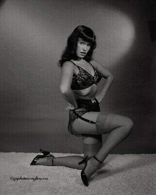 Bettie Page 1954 Camera Negative Photograph Bunny Yeager Burlesque Stripper Pose