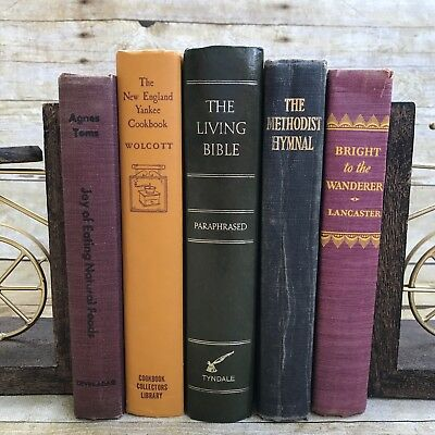 Lot Of 5 Vintage Books Farmhouse Fall Wedding Antique Library Shabby Decor Stack