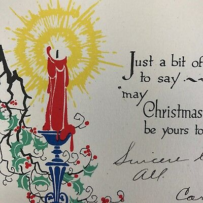 Vintage Art Deco Christmas Greeting Card Used Candle Flame Victorian 1928