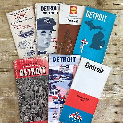 Lot of 6 Vtg Maps Detroit MI Michigan Standard Shell Sunoco Gasoline Advertising