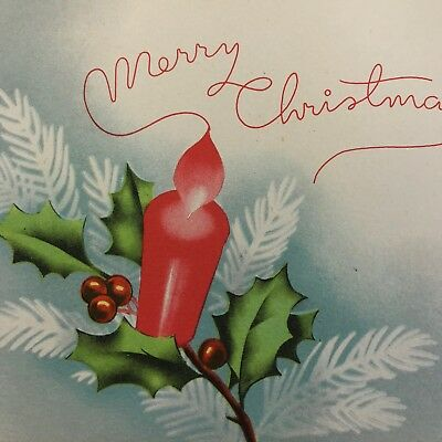 Vintage Art Deco Christmas Greeting Card Coral Blue Candle Flame Mid Century