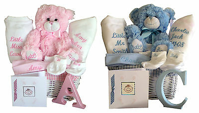 Personalised Embroidered Unique Baby Gift Basket Hamper Baby Shower Birth