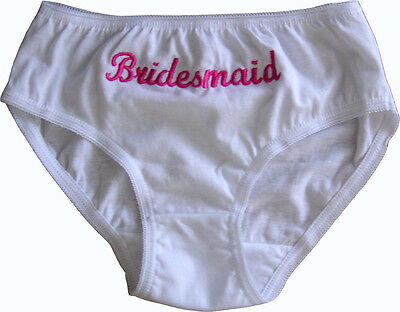 Personalised Name Bridesmaid Girls White Briefs Knickers 2yr 3-4  5-6 7-8 8-9