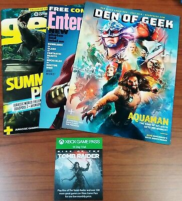 SDCC 2018 Den of Geek,EW Shazam, GEEK Magazines with XBOX Game Pass 14-Day Trial