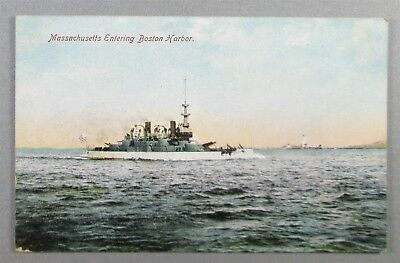 Battleship Massachusetts Entering Boston Harbor, MA Vintage Postcard (#5647)