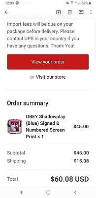 Obey shepard fairey shadowplay signed and numbered (Blue) *pre order*