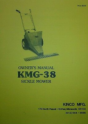 KINCO KMG-38 SICKLE Mower & Engine Owner, Maintenance, Part, Manual 2 BOOKS  56p